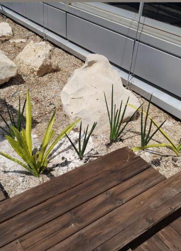 התקנת דשא סינטטי וסלעי לקט במשרד מודרני